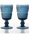 Taça Bico de Jaca Azul Colonial em Vidro