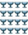 Taça de Sobremesa Bico de Jaca em Vidro Azul 240ml 4 Peças